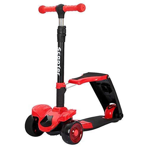 QIMA Kinderroller Roller Kinder 3-12 Jahre Können Sitzen, Rutschen, Super Tragende Zwei-in-eins-klapplift 5cm...