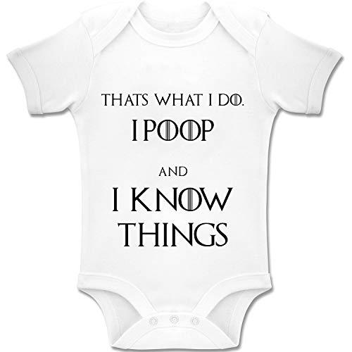 Juego de Tronos Eso es lo Que Hago, I Poop y I Know Things! Body de Manga Corta para bebé, 100% algodón, Color Blanco (0-24 Meses)