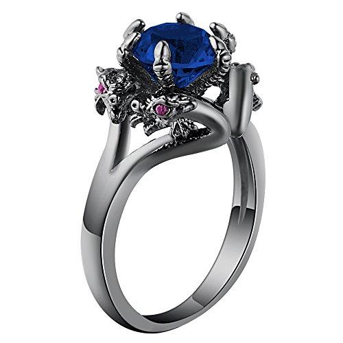 Ginger Lyne Collection Dragon Ring Blue CZ Black Gun...