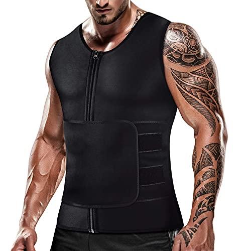Chaleco de sauna para hombre para entrenamiento de cintura y pérdida de peso, parte superior de neopreno, ajustable para sauna, entrenamiento con cremallera en forma de cuerpo - Negro - XXX-Large