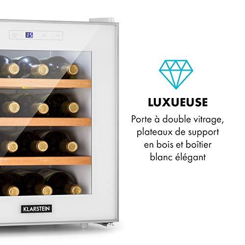 Klarstein Reserva 16 - Réfrigérateur à vin, Espace pour 16 bouteilles de vin, Total de 48L, Classe énergétique A, Température réglable de 11 à 18 °C, 3 clayettes, Blanc