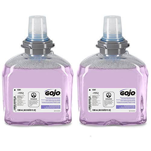 Gojo Premium Foam Handwash with Skin Conditioners, Cranberry Scent, EcoLogo Certified, 1200 mL Foam Hand Soap Refill for Gojo TFX Touch-Free Dispenser (Pack of 2) – 5361-02