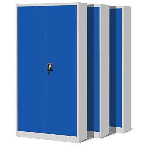 Jan Nowak by Domator24 3er Set Aktenschrank XL C001H Büroschrank Metallschrank 4 Fachböden Stahlblech Pulverbeschichtet Flügeltüren Abschließbar 195 cm x 90 cm x 40 cm (grau/blau), Metall