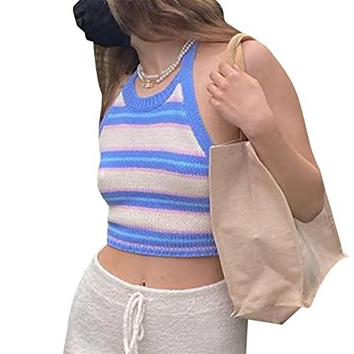 Chaleco halter de punto para mujer, diseño de arco iris, color block raya, sin espalda, camiseta de verano
