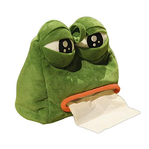 WFGF Sad Frog Feels Bad Man Box Cover Paper Dispenser Tissues Case Home Decor Funny Gift, Green Creative Frog Tissue Box