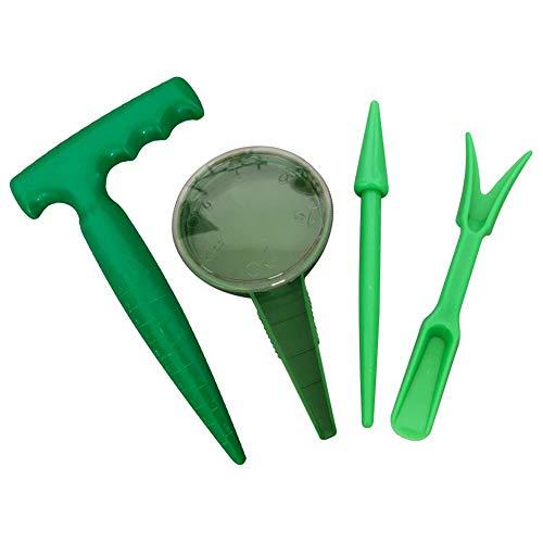 ALUYF4 Stück Saatgut Gartengeräte Miniatur Gartenarbeit Werkzeug Werkzeug für Sämaschine Sukkulente Transplantations Werkzeuge zur Vermehrung Pflanzset – Sämann Pflanzmaschine Puncher Säen(grün)