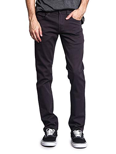 Victorious Men's Skinny Fit Color Stretch Jeans DL937 - Charcoal - 28/32