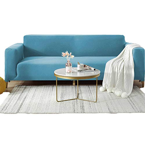 ZHNIU Super Stretch Sofa Slipcover,Spandex Non Slip Soft Couch Sofa Cover 1/2/3/4 Seater Washable Furniture Protector with Elastic Bottom for Kids Pets-4 Seater-Light Blue