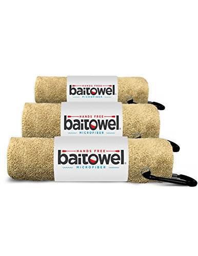 Bait Towel 3 Pack Sand | Hands Free Microfiber Fishing Towels (Beach Sand)