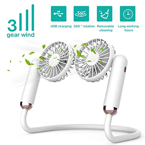 Portable Neck Fan Rechargeable - 2400mAh Battery Operated Hands Free Personal Necklace Fan, 2 Detachable Handheld Fans, Strong Wind, Wearable Small USB Fan for Home Office Travel Sports, white