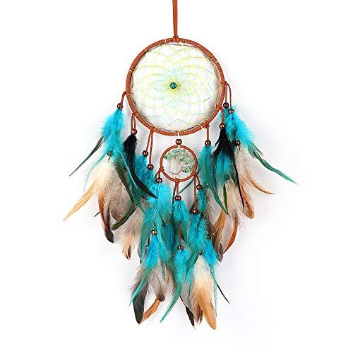 Topteam acchiappasogni fatto a mano tradizionale cristallo albero della vita piuma acchiappasogni ornamento decorazioni casa a parete decorazione regalo per bambini