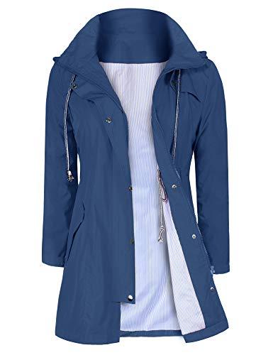 UUANG Damen-Regenjacke, wasserdicht, mit Kapuze, gefüttert, Outdoor-Windbreaker, lange Ärmel, Reißverschluss, Trenchcoat, S-2XL, Damen, blau, m