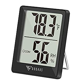 DOQAUS Digital Hygrometer Indoor Thermometer, Humidity Meters, Room Thermometer and Humidity Gauge with Accurate Temperature Humidity Monitor Meter for Home, Office, Greenhouse, Mini Hygrometer-Black 2 【Fast Refresh & High Accuracy】Featuring fast response, which measures every 5 seconds to provide updated and accurate readings, Wide Measuring Range that measures temperature from -58 ° F ~ 158 ° F(-50 ° C ~ 70 ° C), temperature accuracy: 10 ° C ~ 40 ° C ± 0.5 ° C; measures the humidity from 10% RH up 99% RH, 40% ~ 80% ± 3%. 【Air Comfort Indicator】Digital hygrometer on the inside with moisture symbol that shows the environmental status - DRY / COM / WET. DOQAUS temperature gauge measures indoor humidity and temperature in time to remind adjust the humidifier, dehumidifier and humidistat, great for monitoring family's living conditions and health to preventing colds, dry skin, asthma, allergy, mold. 【Clear LCD Display Monitor】Thermometer indoor features a 2.3in LCD display with large bold numbers, allowing you to read the digital from any angle and distance. Portable digital hygrometer Not only is it lightweight, compact, and easy to put in your pocket and put it anywhere in your home or carry to the outdoors.
