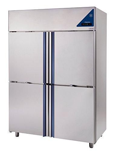 Gastlando - Frigorifero professionale in acciaio inox, 1400 litri, 4 ante in acciaio inox, 2 celle congelate da -18° a -22° C