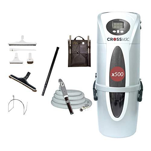 crossvac Aspiradora central x500 con juego de manguera de 12 metros, incluye regulación electrónica de potencia de succión.