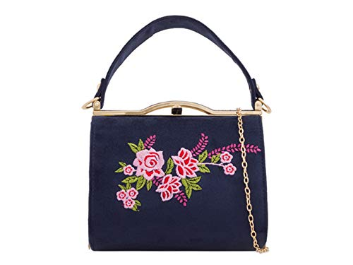 LeahWard Ladies Women's Chic Patent Top Handle Clutch Handbag Wedding Evening Bags 16688 (NAVY FLORAL)