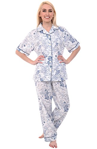 Alexander Del Rossa Women's Lightweight Button Down Pajama Set, Short Sleeved Cotton Pjs, Large Sailboats and Palm Trees Tropical Dream (A0518V38LG)