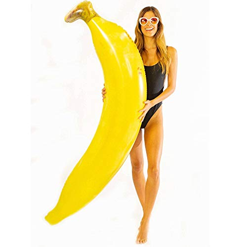 Poolcandy Giant Infaltable Banana Super Noodle, Inflates to 5.5 Feet Tall, Waterproof & Durable, Great for Dorm, Party Decor, Gag Gift, Pool Float