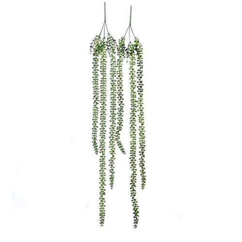 Artificial Plant Fake Tear of Lover Wall Hanging Plant Succulents Garden Wreath Home Wedding Decor 3 Branch Artificial Flower String PU Artificial Flower (Color : Green)