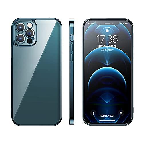KCGNBQING Carcasa transparente compatible con iPhone 12 Pro Max, 9H de vidrio templado duro, transparente con silicona suave absorción de golpes para iPhone 12Pro Max, carcasa de teléfono dorado