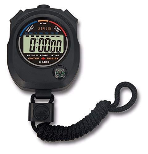 MJS ¡Caliente!A Prueba de Agua Digital LCD cronómetro cronógrafo Temporizador Contador Deportes Stoper Alarma erkek saat del KOL relogioi Dropshipping Q (Color : Negro)