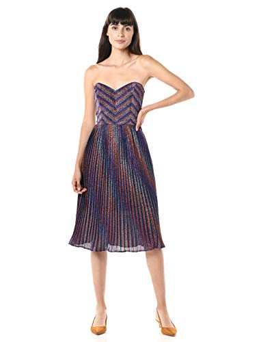 Dress the Population Women's Rosalie Strapless Fit & Flare Pleated Party Dress