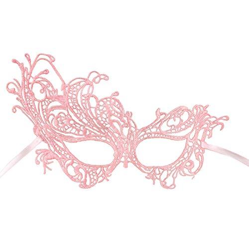 Amakando Edle Filigree Augenmaske für Damen / Rosa / Venezianische Spitzen-Maske Barock / Bestens geeignet zu Karneval & Maskenball