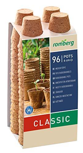 Romberg Anzuchttöpfe Classic rund ø 6 cm (96 Stück, biologisch abbaubar, torffrei, einfache Anwendung) 10091107