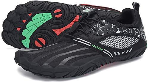 SAGUARO Zapatillas Minimalistas Hombre Barefoot Zapatillas Mujer Antideslizante Five Fingers Zapatillas Minimalistas Trail Oliva Negro 44 EU