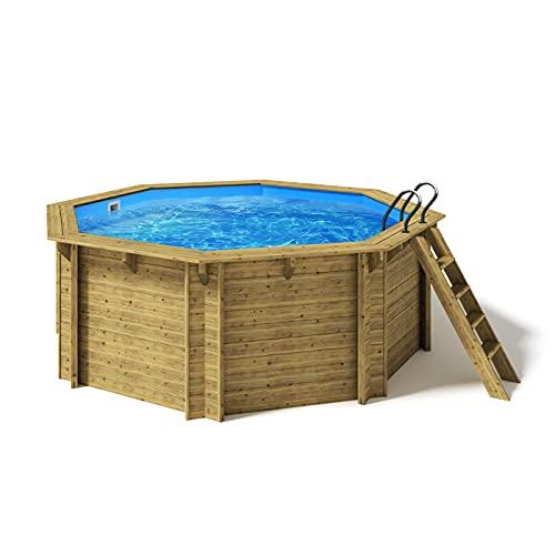 Paradies Pool® Holzpool Kalea Komplettset inkl. Filteranlage, Scheinwerfer LED RGB, Folie blau 0,8mm Stärke, Achteck-Pool, 436 x 138 (Ø x H), Menge: 1 Stück