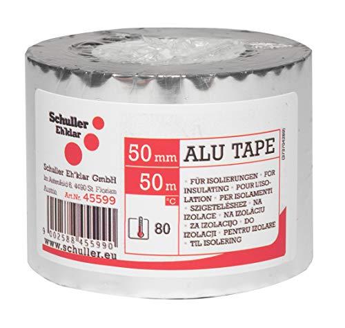 Schuller Eh'klar ALU TAPE PP, 50mx50mm, Aluminium-bedampfte BOPP Folie für Fugenabdichtungen, Bandagen und Stoßverklebungen von Isoliermaterial, 45599