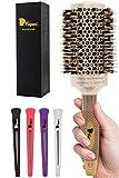 Fagaci Cepillo Redondo Pelo Profesional con cerdas de jabalí natural Cepillo redondo | Nano Technology Ceramic + Ionic para peinado, secado, cabello saludable Cepillo de pelo + 4 pinzas de peinado