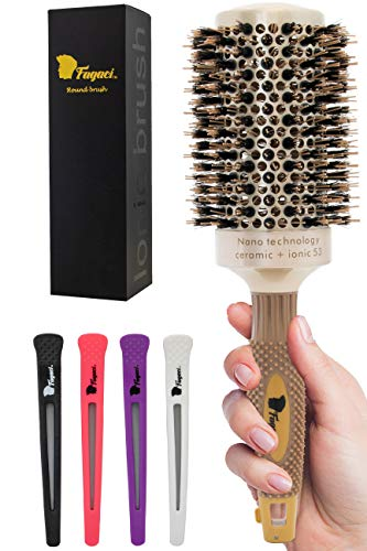 Fagaci Professional Large Round Brush for Blow Drying with Natural Boar Bristle, Round Hair Brush Nano Technology Ceramic+ Ionic for Hair Styling, Drying, Healthy Hair and Add Volume + 4 Styling Clips