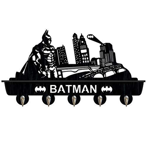 Batman Black Étagère murale en bois de haute qualité avec 5 crochets en métal pour couloir, salle de bain, salon, chambre à coucher 16 cm