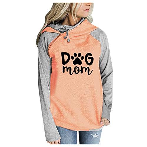 Damen Pullover,Räumungsverkauf- Herbst Frauen Langarm Hoodie Sweatshirt Pullover mit Kapuze Baumwollmantel Pullover Lässige hohe Kragen warmen Pullover Hoodie