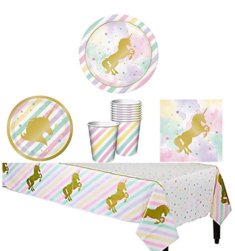 Unicorn Party Supplies Birthday Sparkle Rainbow Pink Gold Metallic Kit - Tableware Set Serves 16: Plates and Napkins, Birthday Cups, Unicorn Tablecloth, Party Planning Checklist for Adult and Girls