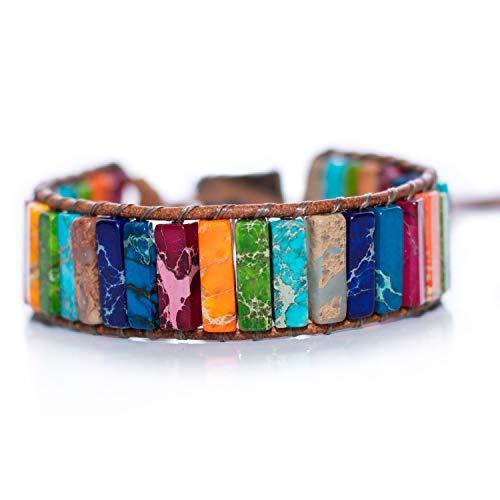 Haidar-Rajjouh Armbänder für Damen & Herren,Armschmuck,Handgefertigte,wickelarmband,pärchen Armband,Chakra-Armband,seilarmband,Lederarmband,Naturstein,Perlenarmband
