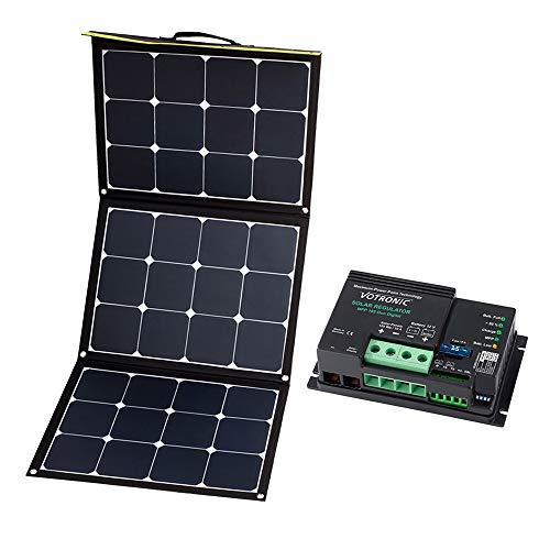 WATTSTUNDE Sunfolder Solartasche - Mobiles 12V Outdoor Solarpanel - faltbares Solarmodul mit Laderegler und Batteriekabel (120W mit Votronic MPP165)