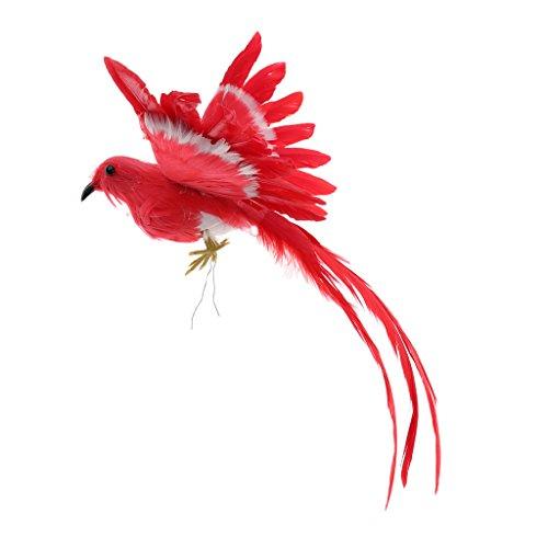 MagiDeal Oiseau Artificielle Plumes Figurine en Plastique Paysage Ornement Jardin Décor Noël Bricolage Halloween - #3 (Queue Rouge), 28 * 5 * 3cm