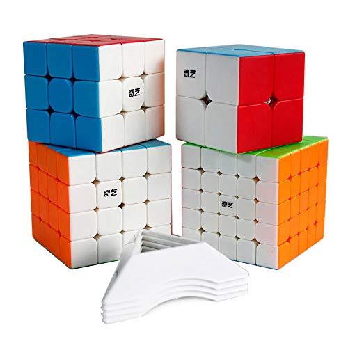 OJIN QiYi Paquete de Cubos de Velocidad específica 2x2 3x3 4x4 5x5 Cubo mágico Brillante Pegatinas Suaves Juego de Cubos con Embalaje de Regalo + Cuatro trípodes