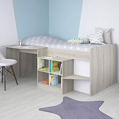 Children's Cabin Bed, Happy Beds Pilot Elm Wooden Mid Sleeper - 3ft Single (90 x 190 cm) with Pocket Sprung Mattress Included