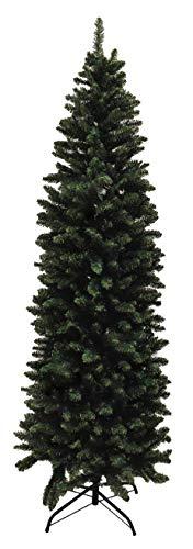 eacommerce Albero di Natale Slim Folto Verde Rami in PVC con Apertura ad Ombrello Salvaspazio Ignifugo Sottile Stretto (Altezza 210 cm - Diametro 80 cm)