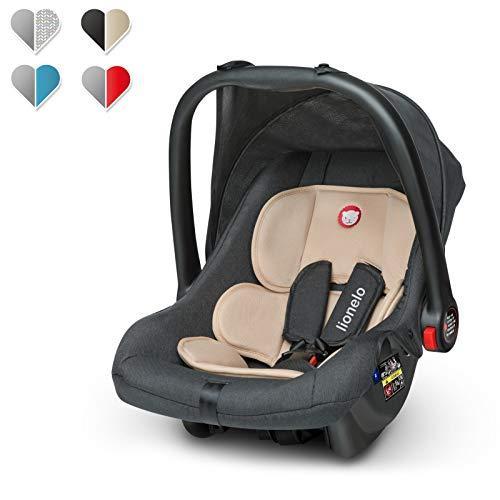 Lionelo Noa Plus Auto Kindersitz Babyschalle ab Geburt bis 13 kg Fußabdeckung Sonnendach leichte Konstruktion 3-Punkt-Sicherheitsgurt abnehmbarer Polsterbezug (Beige)