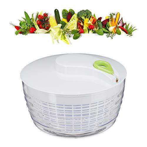 Relaxdays 10024697 Salatschleuder zum Ziehen, Profi Salad Spinner, großer Salattrockner, XXL Salatkarusssel 7 Liter, weiß-grün