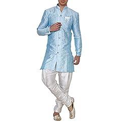 Royal Kurta Mens Jacquard Silk Floral Print Indowestern Sherwani