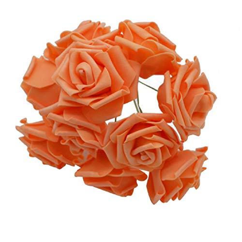 Yalulu 50 Stück 8CM Foamrosen Schaumrosen Blumenköpfe Schaumköpfe Künstliche Kunstblumen Rosen Rosenköpfe Brautstrauß Party Hause Deko (Orange)