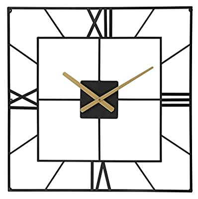 Large Wall Clocks Decorative 25 Inch Big Oversized Square Silent Metal Clock Battery Operated for Home Living Room Kitchen