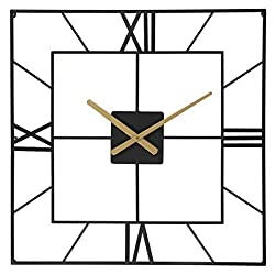 Wall Clocks Large Decorative, Big Oversized 25 Inches Square Silent Battery Operated Metal Clock for Home Living Room Kitchen