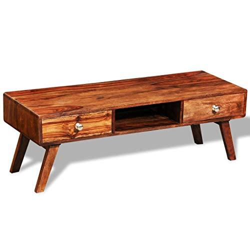 Tidyard Mueble de TV Mesa de Centro,Mesa para Sofá aparador 2 cajones Vintage 40 cm sheesham