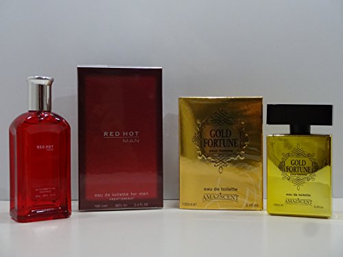 Eau de toilette voor heren, voor Valentijnsdag, 2 x parfums voor mannen, 100 ml + Red Hot Man 100 ml EDT voor heren.
